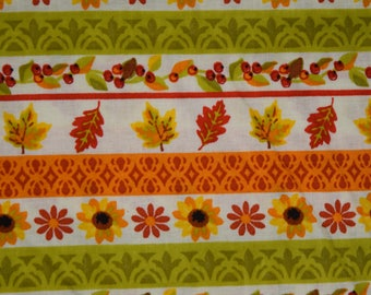 Autumn/ fall/ Thanksgiving Fabric -Autumn Stripe Leaves and Flowers