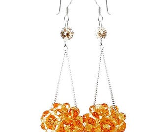 Extra Long Dangle Cluster Crystal Earrings