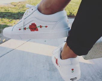 Custom rose painted vans