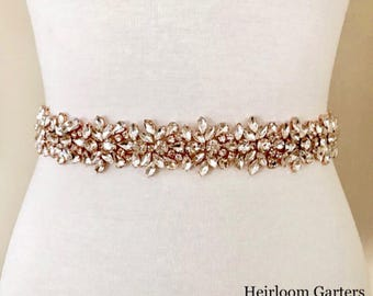 SALE - Rose Gold Bridal Belt, Bridal Sash, Wedding Belt, Wedding Sash Rhinestone and Pearl Sash