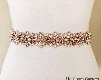 SALE - Rose Gold Bridal Belt, Bridal Sash, Wedding Belt, Wedding Sash Rhinestone and Pearl Sash