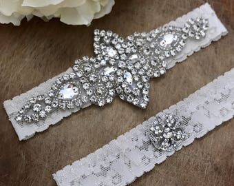 Crystal Ivory Bridal Garter Set NO SLIP grip vintage rhinestones