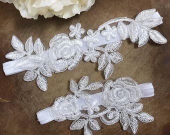 Wedding Garter Set, lace garter NO SLIP grip