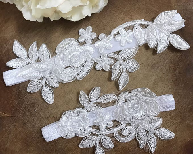 Wedding Garter Set, lace garter NO SLIP grip
