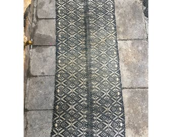 Vintage tribal Black Thai textile blanket in Nghe an  province,central  of Vietnam