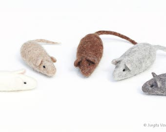 Organic Felted Mice Cat Toys