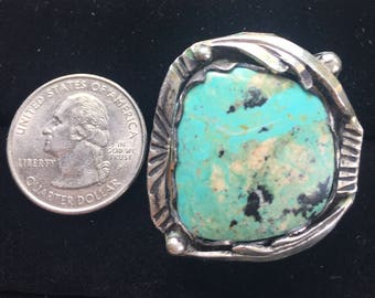 Huge Old Pawn Navajo Sterling Silver Turquoise Ring Sz 9