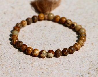 Picture Jasper Gemstone Beaded Stretch Bracelet w/ Tassel Create Harmony Balance Yoga Stackable