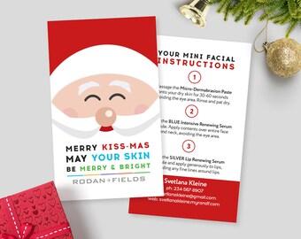 Merry Kissmas Mini Facial Cards, Rodan and Fields Christmas Card, Merry Kiss-Mas Give It A Glow, Christmas Card, Printable, Personalized