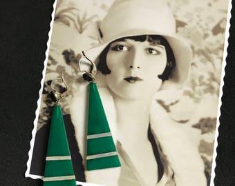 Rare - 1920 French Antic Vintage Art Deco Pendants Earrings in emerald green crystal - Roaring 20s - Flapper
