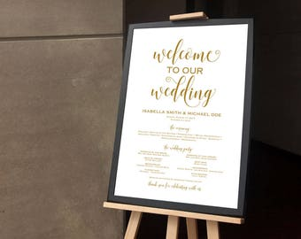 Gold Ceremony Poster Welcome Sign Wedding Program Order Of Service Editable
