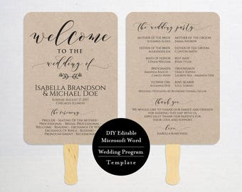 Wedding Program Template,Printable Program, Wedding Fan,instant Download, DIY Wedding Program, Fan Program, Program Template, Rustic, MSW383