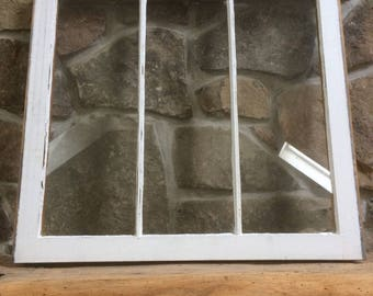Vintage window sash ~ old wooden window ~ vintage hardware ~ 3 pane window