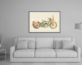 80%OFF Watercolor Motorbike Art, Digital Painting, Harley Davidson WL, military Harley download, Harley wall art, Motorbike Printable