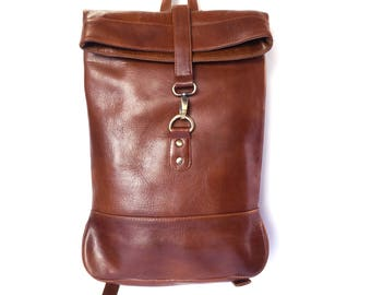 Small Brown or Black Leather Backpack, Rucksack