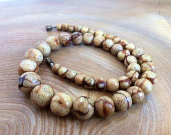 Vintage Graduated Tiger Coral Bead Necklace - shades of brown