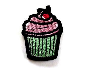 Embroidered Cupcake Iron on Patch with a Cherry and Pink Frosting, Cake Patch, Cupcake Patch, Cake Iron on Patch - H1257