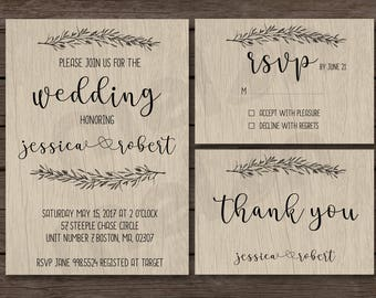 Rustic Wedding Invitation - Wedding Invitation - Country Wedding - Vintage - Invite with RSVP and Thank You Card - Printable Design