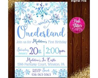 Onederland Invite, Onederland Invitation, Winter Onederland Invite, Winter Onederland Invitation, Onederland First Birthday, Onederland