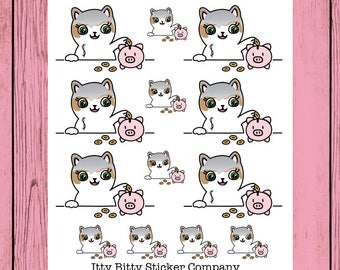Mauly helps you Save - Hand Drawn IttyBitty Kitty Collection - Planner Stickers