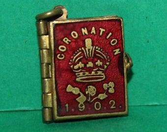 Tiny Miniature Enamel Souvenir Royal Photo Picture Edward VII Coronation 1902