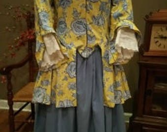 Handmade 18th Century 1770's Historical Boned Bodice Two-Piece Dress Costume Poldark Colonial Party Halloween Polonaise Rendezvous
