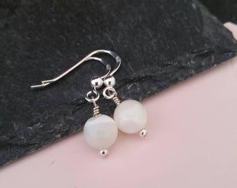 Genuine 925 Sterling Silver Gemstone Dangle Ornate Mother of Pearl Earrings Drop Hook Earrings Gift Boxed Free UK Delivery