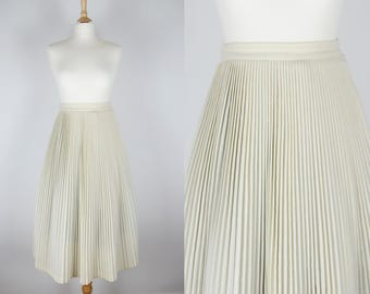 "50s Vintage Cream Terylene And Wool Pleated Full Circle Midi Skirt- Small 26.5"" waist"