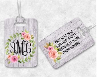 Floral Luggage Tag, Bag Tags, Monogram Luggage Tag, Custom Monogrammed Gifts, Gym Bag Luggage Tags, Personalized Gifts, Monogram Bag Tag