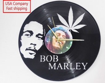 Bob Marley themed Vinyl Album Record Clock made in the > USA < with FREE Shipping!