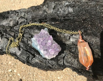 Tangerine Quartz Crystal Necklace**CLEANSED AND BLESSED