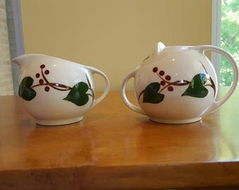 Sugar & Creamer by Canonsburg Pottery Sky Line Stanhome Ivy