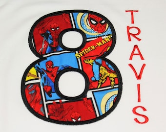 Spiderman birthday shirt embroider add name any age