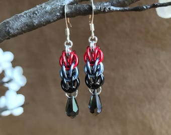 Swarovski, Crystal, Chainmaille, Black, Grey, Red, Persian, Weave, Earrings, Gothic