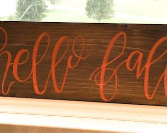 Hello fall, fall sign, fall decor