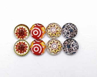 """8 cabochons round glass mixte12mm series 1 """"14"""""""