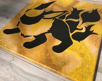 """""""Shiny Flareon"""" - Painted Canvas Inspired by Pokemon"""