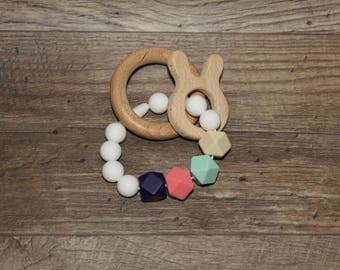 Silicone and Wood Teething Toy | Bunny Teether | Modern | Perfect Gift | Handmade in Canada | Unique | Teething | Baby | Kenton Creations