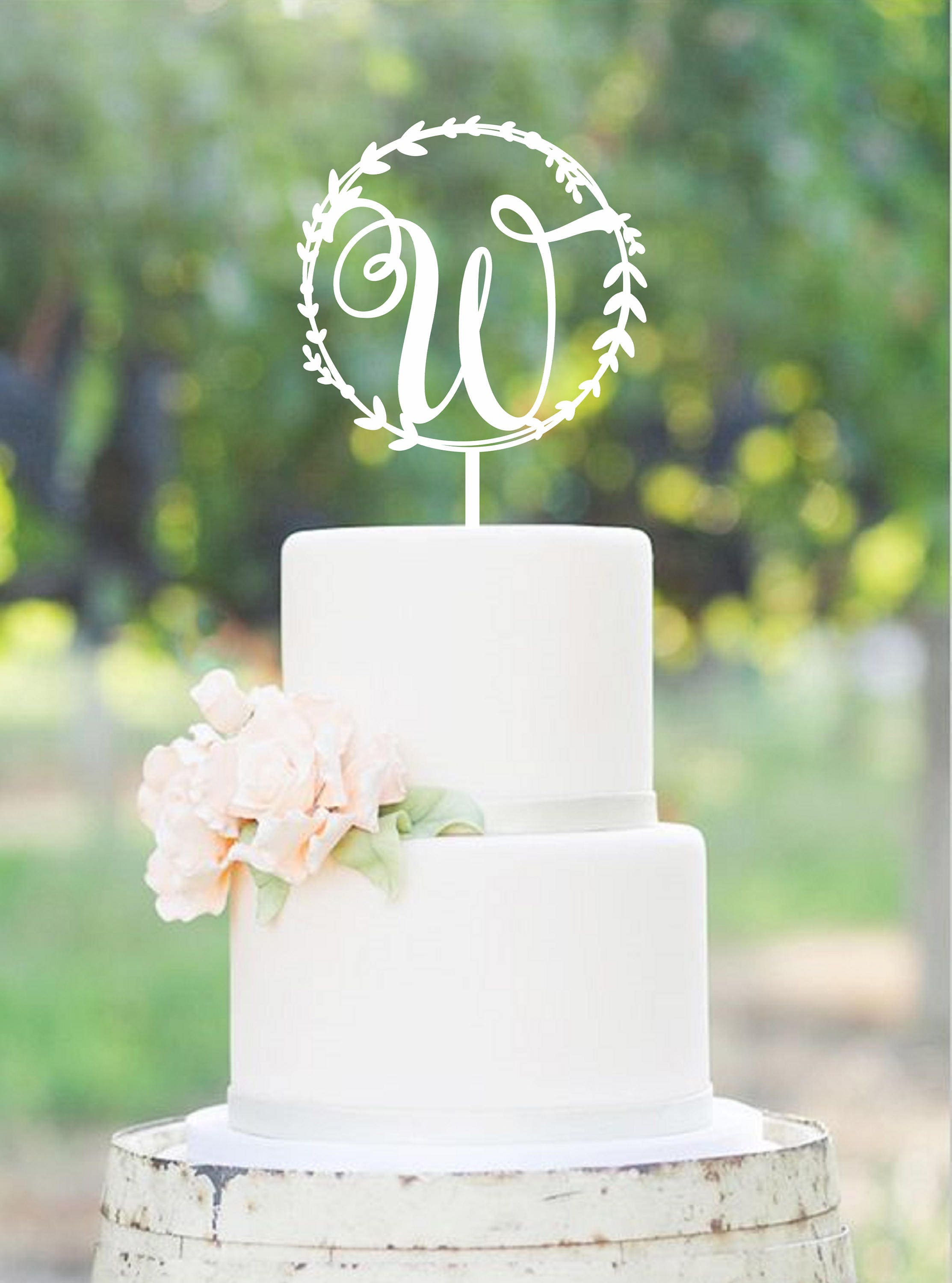 Wedding Cake Topper Wreath Initial Wood Monogram Wedding Cake Topper ...