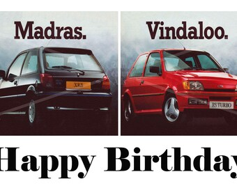 Ford Fiesta XR2 RS Turbo 1990s advert A4 Birthday Card