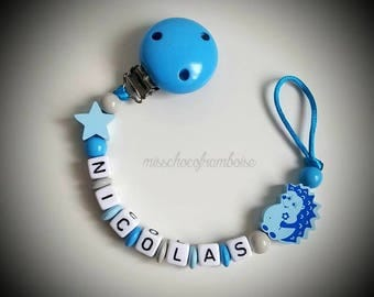 Personalized pacifier clip Hedgehog wooden beads