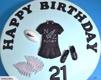 Rugby cake topper   Rugby cake  decoration   All blacks cake topper   All blacks Cake   All blacks theme   rugby themed cake