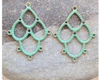 2 Connectors Pendants,  Brass Connectors, patina green