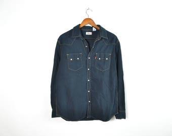 Vintage Black Levis Button Up Shirt