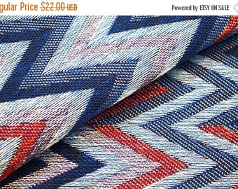 10% Off On Blue and Red Zig Zag Pattern Cotton Upholstery Jacquard Fabric by the Yard
