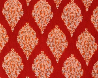 10% Off On Red Floral Printed Indian Cotton Running Fabric by the yard