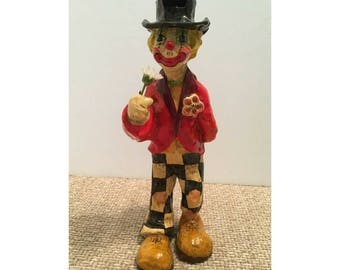 Vintage Alvarez Meifiso Paper Mache Hobo Clown Signed and Numbered A-9 Folk Art Mache Artist Handmade