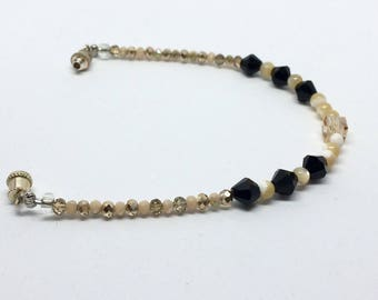 Black and tab handmade beaded bracelet