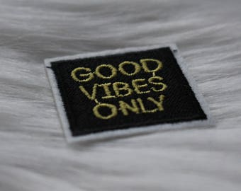 Good Vibes only DIY Iron-on Embroidered Patch!