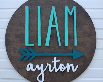 """18"""" Round Arrow Sign, Arrow Sign, Arrow Nursery Sign, Nursery Sign, Name Cutout, Custom Wood Sign, Custom Nursery Sign"""